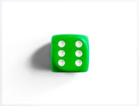 Number 6 on green dice. White background.