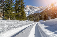Cross-country skiing in Austria, Hinterthal: Slope, fresh white powder snow and mountains, blurry background