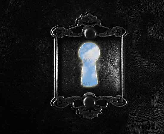 Vintage lock with blue sky keyhole dark background