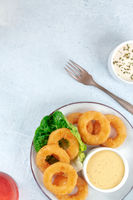 Squid rings. Delicious calamari with a dip and a green salad leaf