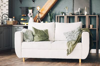 White sofa with green and grey velour cushions standing in american style modern kitchen interior