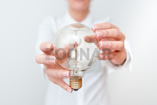 Lady Holding Lamp With Formal Outfit Presenting New Ideas For Project, Business Woman Showing Bulb With Two Hands Exhibiting New Technologies, Lightbulb Presenting Another Openion