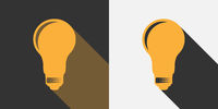 flat light bulb icon with drop shadow