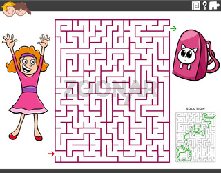 maze educational game with cartoon girl and backpack