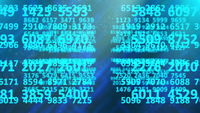 Endless rows of random numbers abstract background.