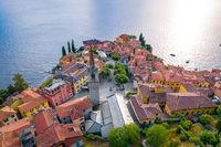 Town of Varenna Como lake waterfront aerial view