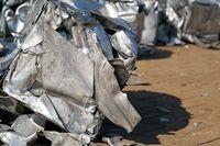 Scrap metal at a scrap yard in the port in Magdeburg in Germany