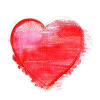 A watercolour drawing of a vibrant red heart, hand drawn