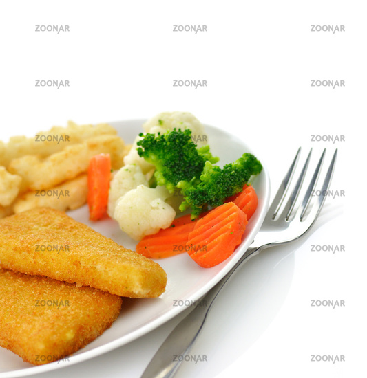 fish fillets with fried potato and vegetables