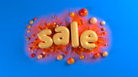 sale bright glossy letters on a blue abstract background with spheres and mountains. 3d illustration