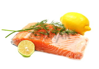 Fresh salmon fillet with herbs.