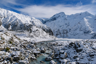 Hooker Valley Track in winter, Mt Cook National Park, New Zealand