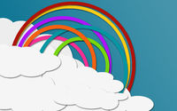 Rainbow on the sky in paper craft style