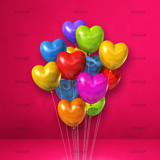 Colorful heart shape balloons bunch on a pink wall background