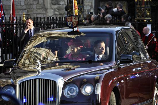 LONDON - MARCH 12: Queen Elizabeth leaves Westmins