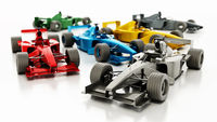 Generic Formula 1 racing cars isolated on white background. 3D illustration