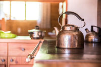 Holiday in the mountains: Rustic old wooden interior of a cabin or hut