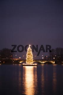 Weihnachtsbaum auf der Alster
