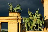 statue group budapest hero square