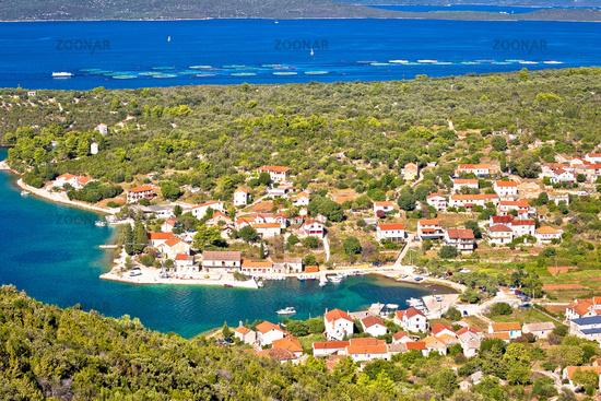 Village of Luka on Dugi Otok island harbor and waterfront panoramic view