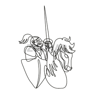 Knight With Lance and Shield Riding Stead Continuous Line Drawing