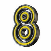 Yellow black outlined font Number 8 EIGHT 3D