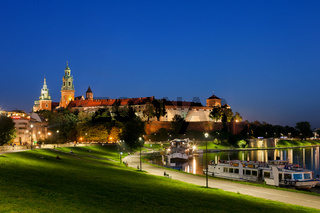 Wawel Castle by night in Krakow