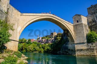 Mostar Bridge, an Ottoman bridge in Mostar, Bosnia and Herzegovina