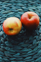 Two fresh ripe small apples, fruits and organic food