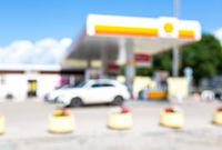 Blurred and soft of gas station with blue sky
