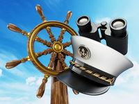 Ship wheel and captain hat against blue sky background. 3D illustration