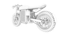 3D rendering of an electric motorcycle motor bike computer model on white background