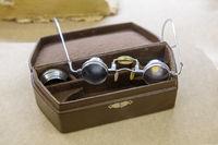 Vintage glasses in the leather case. Retro eyeglasses