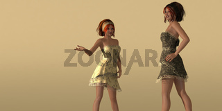 Zwei Models in Sommerkleidern