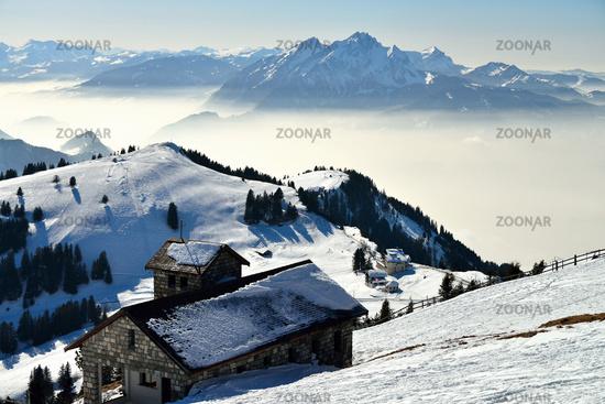 view from Rigi alp in winter