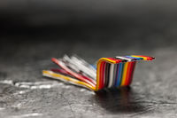 A piece of ribbon cable dark