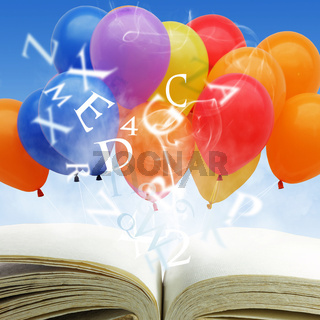 open book with fancy balloons and text