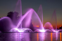 Dark Summer Night and Colored Fountain