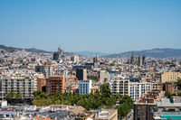 View over Barcelona in Spain from Montjuic mountain
