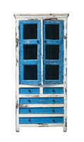Front view of old painted wooden cupboard