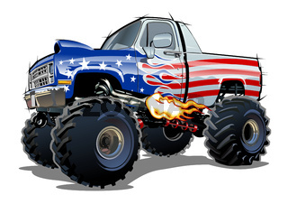 Cartoon Monster Truck isolated on white background