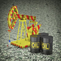 Barrels of oil and pumps on dollars