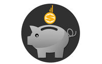 Piggy bank icon isolated on white