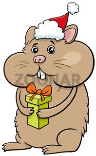 cartoon hamster animal character with gift on Christmas time