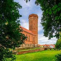 Czluchow, Pomerania, Poland - August 23, 2021: Teutonic castle tower. Old stronghold built of brick