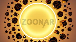 Abstract 3D Illustration with a round frame and a space for your text.
