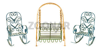 Swing and two roking chairs