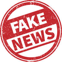 round grungy FAKE NEWS rubber stamp imprint