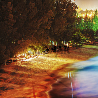 Tropical beach at night. Long exposure shot. HDR processed. Square composition.