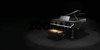 Dark 3D illustration music concept scene with a grand piano, with copy space for text